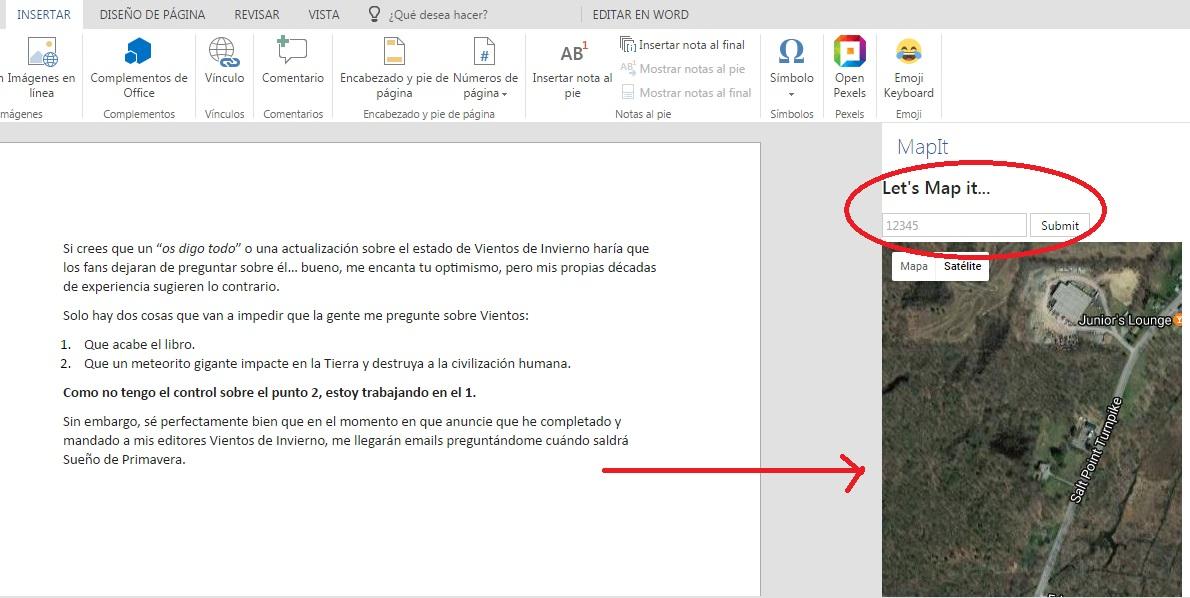 Agregar MapIt para buscar lugares en Google Map desde Word Online