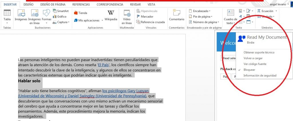 Instalar complemento Read my document para reproducir en audio texto de Word
