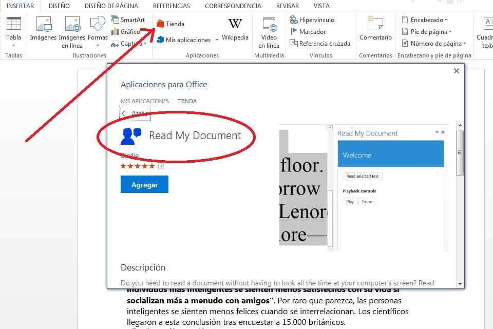 Agregar complemento para escuchar contenido de documentos en MS Word