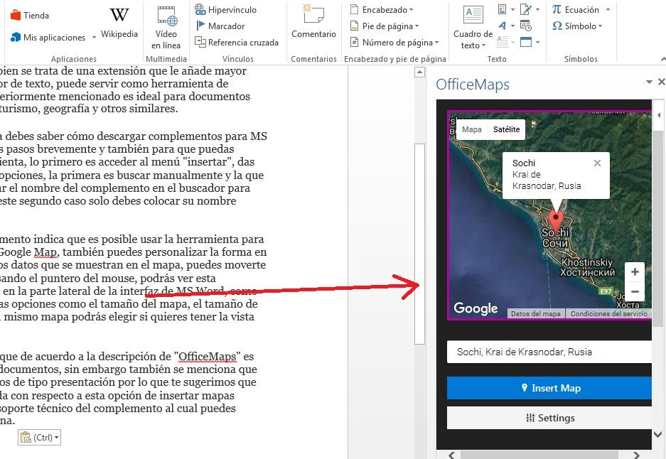 Buscar mapas con complemento OfficeMaps en MS Word