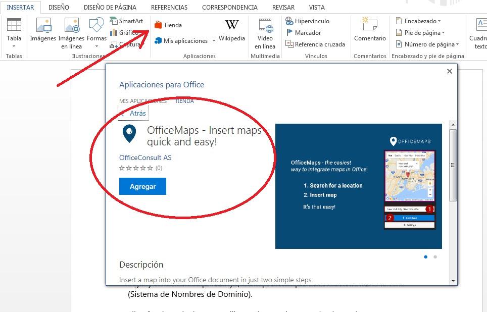 Buscar mapas con OfficeMaps en MS Word