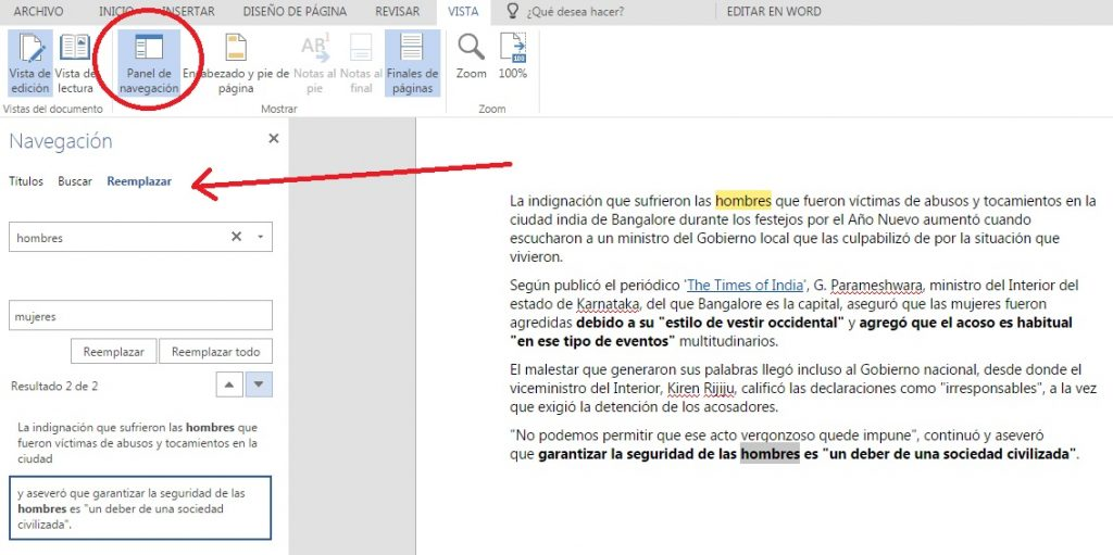 explorar documentos con panel de navegación word online