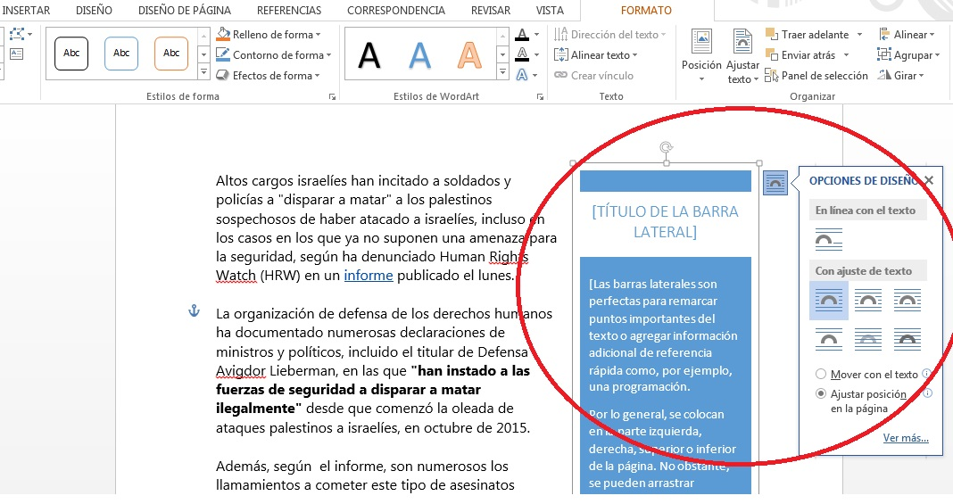 insertar cuadros de texto en documentos de MS Word