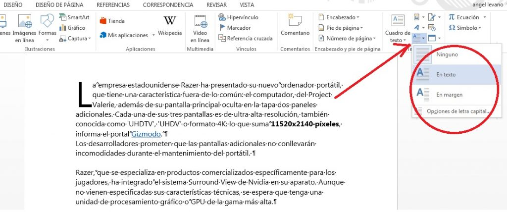 Cómo añadir letra capital en documentos de MS Word