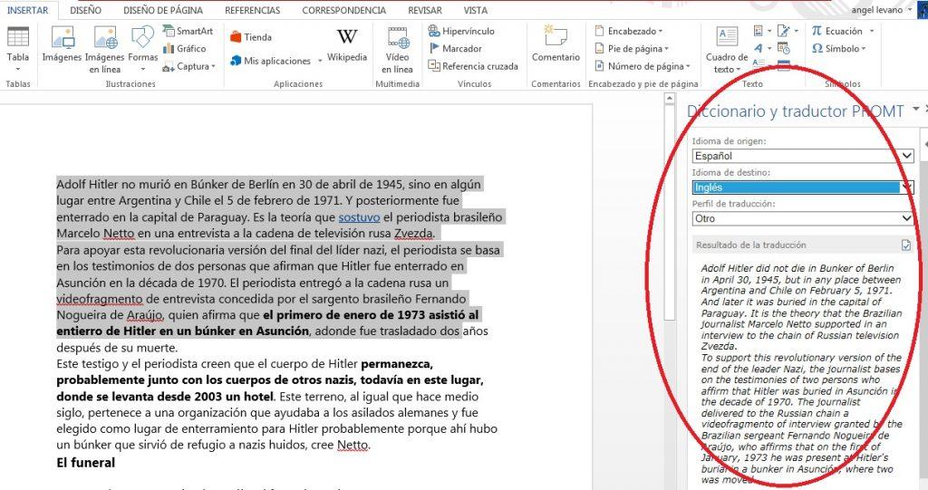 Añadir complemento para traducir texto en MS Word