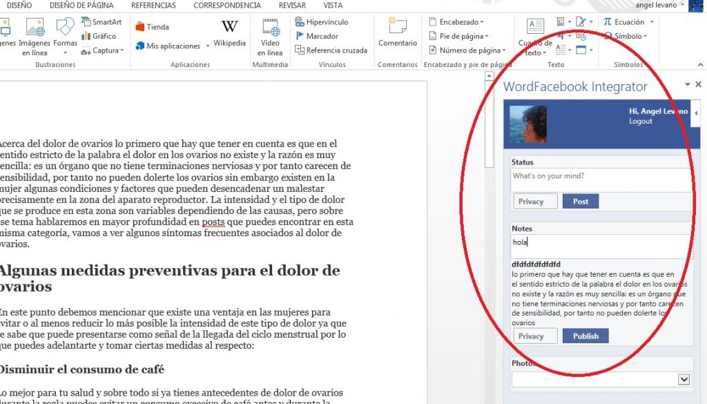 Publicar mensajes en Facebook desde MS Word