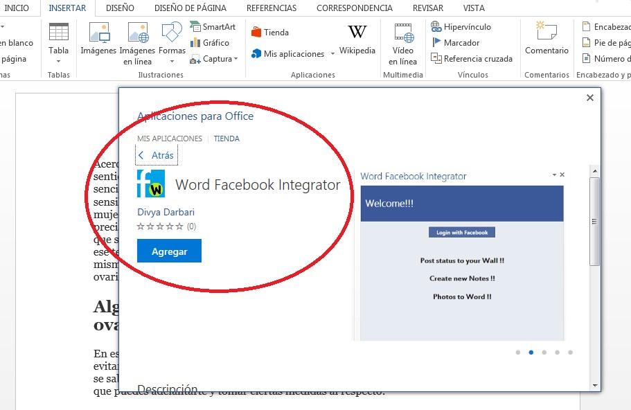 Compartir información desde MS Word en Facebook
