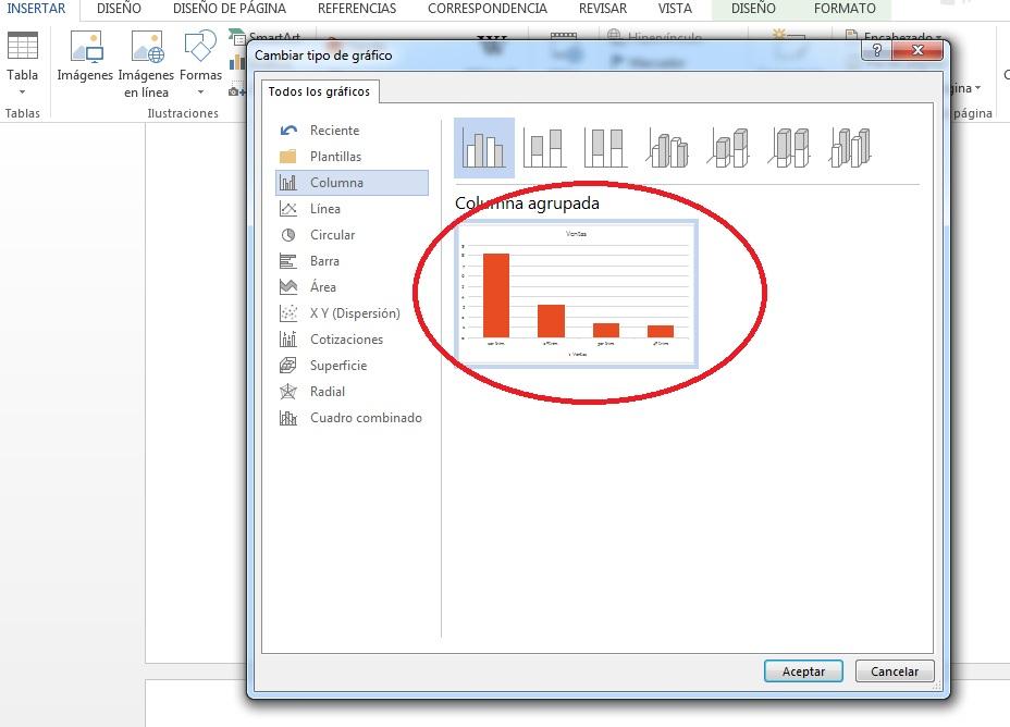 Insertar gráfico de barras en MS Word
