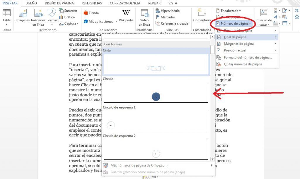 Insertar numeración de página en MS Word