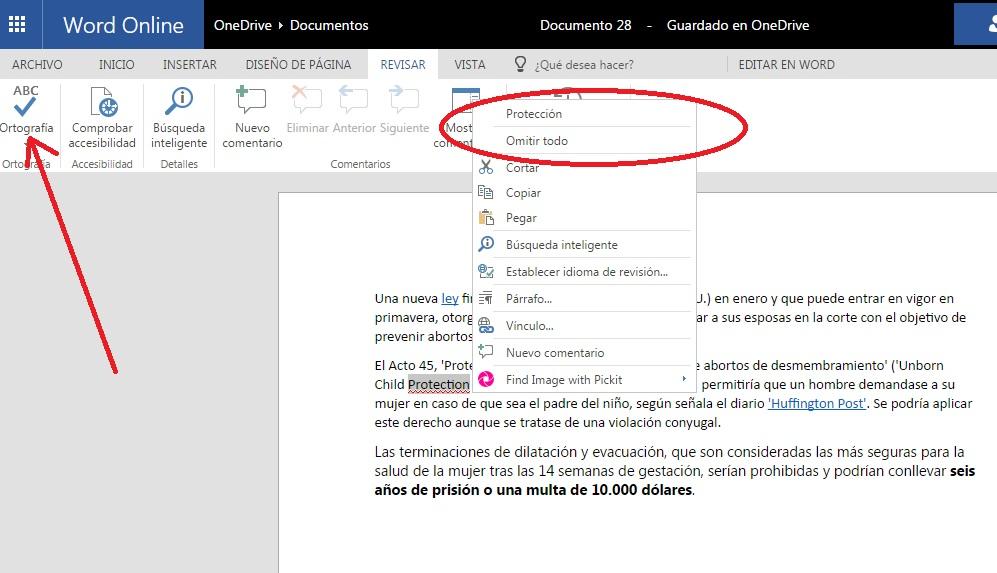 Corregir errores ortográficos en documentos de Word Online