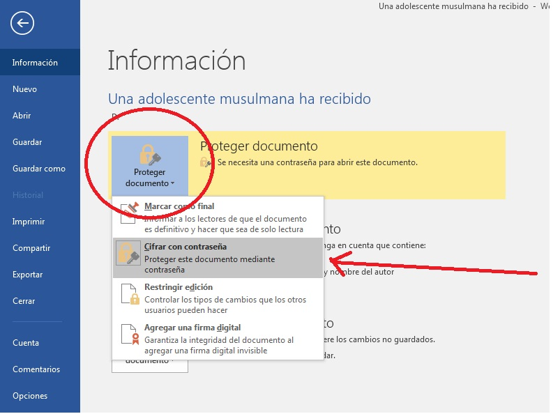 cifrar con contraseña documentos en MS Word 2016