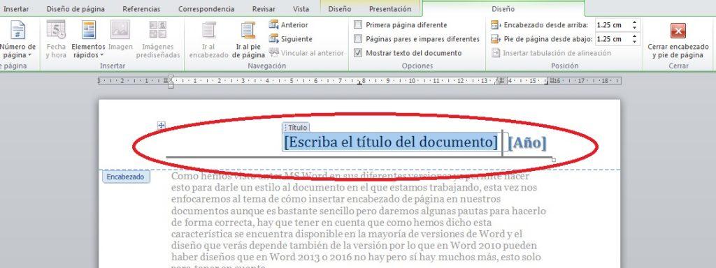 insertar encabezado de página en ms word