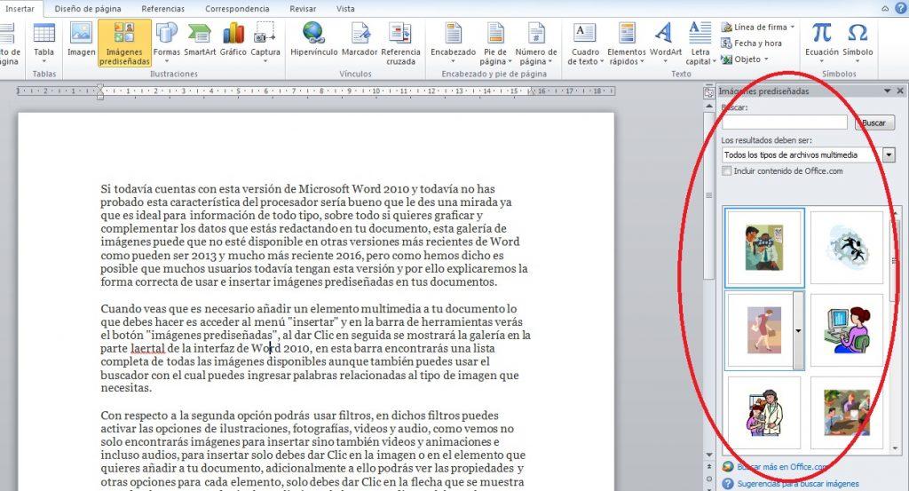 insertar imagenes prediseñadas en Word 2010