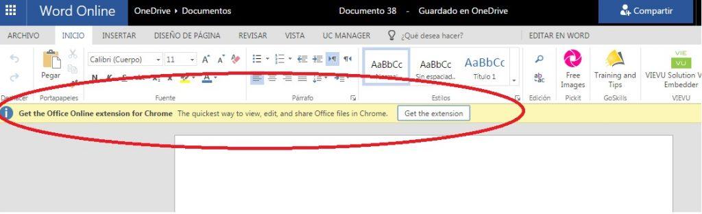 instalar extensión office online para word