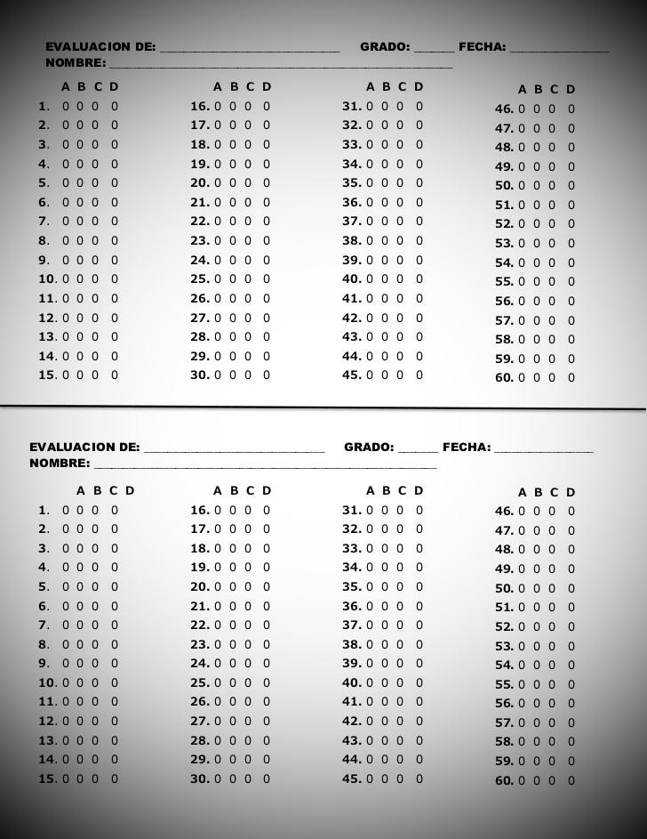 hoja de respuestas para examen de opcion multiple en word