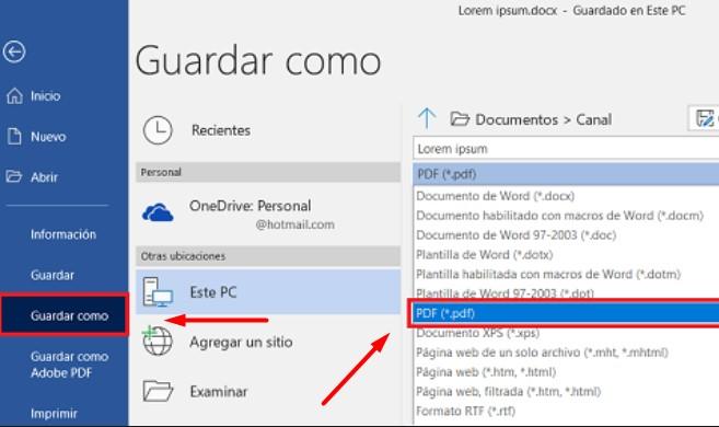 Guardar Word en PDF