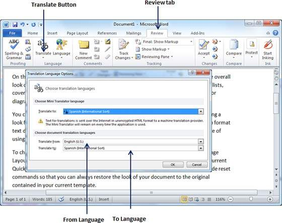 Translation Language Options