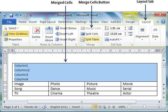 Merged Cells