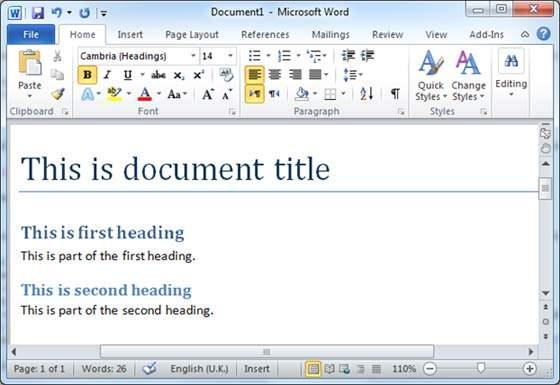 Tabla de contenidos en Word 2010 - Descargar Word Gratis